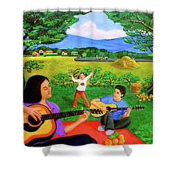Playing Melodies Under The Shade Of Trees Shower Curtain by Lorna Maza