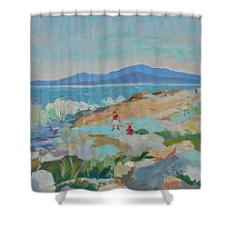Shower Curtain featuring the painting Playing On Schoodic Rocks by Francine Frank