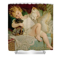 Playmates Shower Curtain by Emile Munier