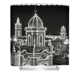 Plaza Black And White Shower Curtain
