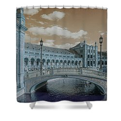 Shower Curtain featuring the photograph Plaza De Espana Vintage by Jenny Rainbow