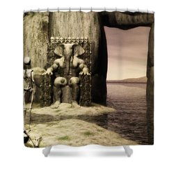 Shower Curtain featuring the digital art Plea Of The Penitent To The Lord Of Perdition by John Alexander
