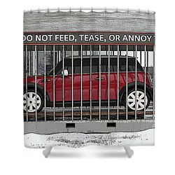 Please Do Not Feed Tease Or Annoy The Mini Shower Curtain by Teresa Zieba