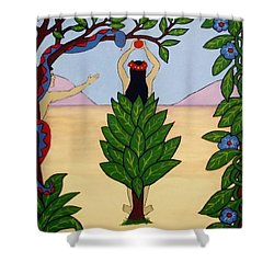 Shower Curtain featuring the painting Please Don't Pick That Apple by Stephanie Moore