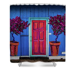 Please Use Other Door Shower Curtain by Roger Mullenhour
