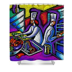 Shower Curtain featuring the painting  Pleasure Of The Food Preparation by Leon Zernitsky