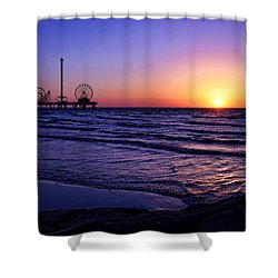 Pleasure Pier Sunrise Shower Curtain