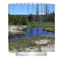 Pleated Gentians Beside Iron Creek In Black Sand Basin Shower Curtain by Louise Heusinkveld