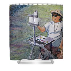 Shower Curtain featuring the painting Plein-air Painter Bj by Gretchen Allen