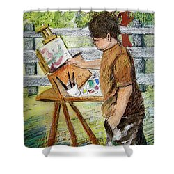 Plein-air Painter Boy Shower Curtain