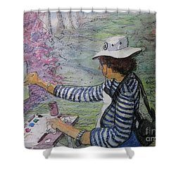 Shower Curtain featuring the painting Plein-air Painter  by Gretchen Allen