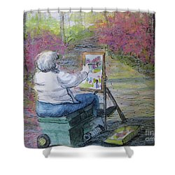 Shower Curtain featuring the painting Plein-air Painter Lady by Gretchen Allen