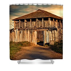 Plimouth Plantation  Meeting House Shower Curtain by Lourry Legarde