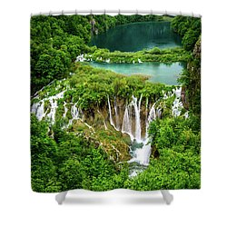 Plitvice Lakes National Park - A Heavenly Crystal Clear Waterfall Vista, Croatia Shower Curtain