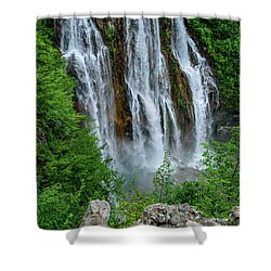 Plitvice Lakes Waterfall - A Balkan Wonder In Croatia Shower Curtain
