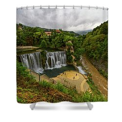 Pliva Waterfall, Jajce, Bosnia And Herzegovina Shower Curtain