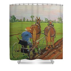 Plowing Match Shower Curtain by David Gilmore