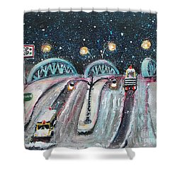 Plowing The Green Bridge Shower Curtain