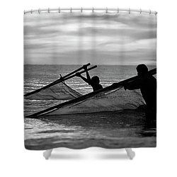 Plowing The Sea - Thailand Shower Curtain