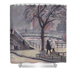 Pluie Sur Le Pont Passarelle Liege Shower Curtain