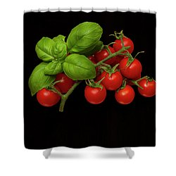 Shower Curtain featuring the photograph Plum Cherry Tomatoes Basil by David French