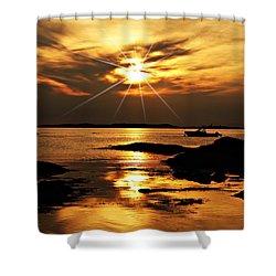 Plum Cove Beach Sunset E Shower Curtain