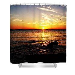Plum Cove Beach Sunset G Shower Curtain by Joe Faherty