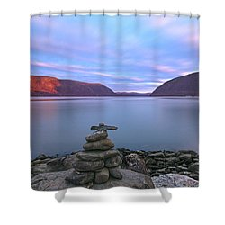 Plum  Point Rock Cairn At Sunset Shower Curtain