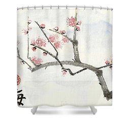 Plum Ume Branch Shower Curtain