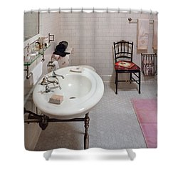 Plumber - The Bathroom  Shower Curtain by Mike Savad
