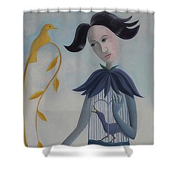 Shower Curtain featuring the painting Plume by Tone Aanderaa