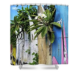 Plumeria Surf Boards Shower Curtain