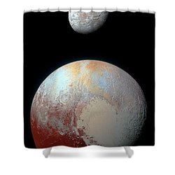Shower Curtain featuring the photograph Pluto And Charon by Nicholas Burningham