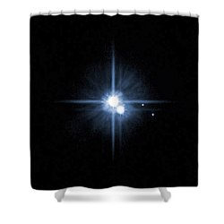 Pluto And Its Moons Charon, Hydra Shower Curtain by Stocktrek Images