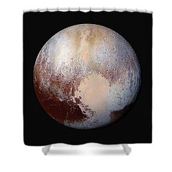 Pluto Dazzles In False Color Shower Curtain by Nasa