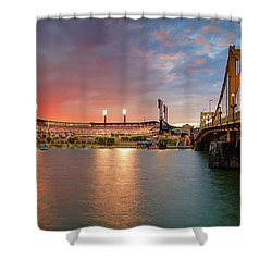 Shower Curtain featuring the photograph Pnc Park At Sunset by Emmanuel Panagiotakis