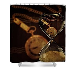 Pocket Watch And Sandglass Shower Curtain