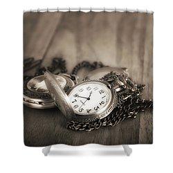 Pocket Watches Times Three Shower Curtain by Tom Mc Nemar