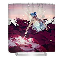 Shower Curtain featuring the digital art Poinsettia Snow Fairy by Methune Hively