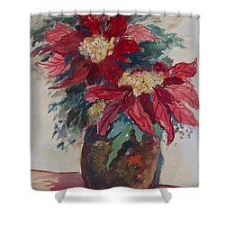 Poinsettias In A Brown Vase Shower Curtain