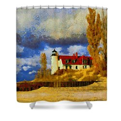 Shower Curtain featuring the painting Point Betsie Lighthouse by Kai Saarto