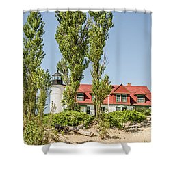 Shower Curtain featuring the photograph Point Betsie Lighthouse by Sue Smith