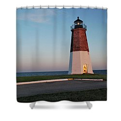 Point Judith Lighthouse Rhode Island Shower Curtain by Nancy De Flon