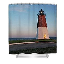 Shower Curtain featuring the photograph Point Judith Lighthouse Rhode Island by Nancy De Flon