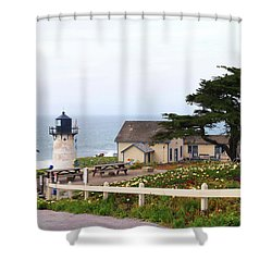 Shower Curtain featuring the photograph Point Montara Lighthouse by Art Block Collections