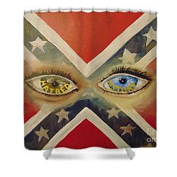 Shower Curtain featuring the painting Point Of View by Saundra Johnson