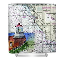 Point Sur Light Station Shower Curtain by Mike Robles