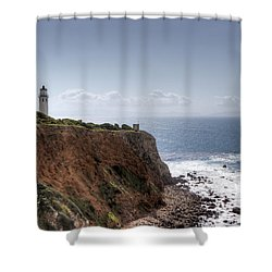 Point Vicente Lighthouse In Winter Shower Curtain by Heidi Smith