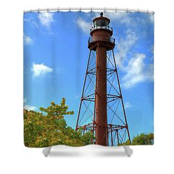 Shower Curtain featuring the digital art Point Ybel Lighthouse by Sharon Batdorf