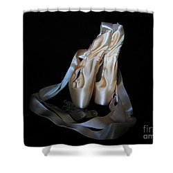 Shower Curtain featuring the photograph Pointe Shoes And Dog Tags1 by Laurianna Taylor